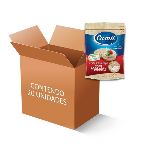 Biscoito De Arroz Integral com Pimenta Camil contendo 20 unidades de 150g