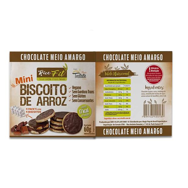 Biscoito de Arroz Mini coberto com Chocolate Meio Amargo Rice Fit 60g