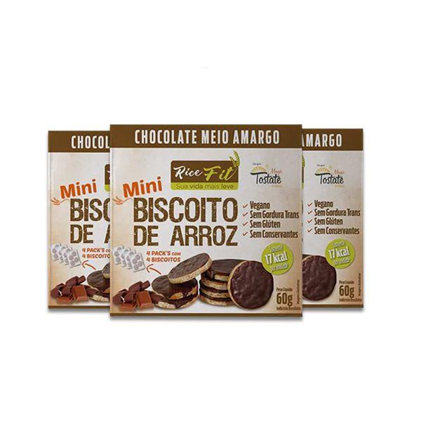 Biscoito de Arroz Mini coberto com Chocolate Meio Amargo Rice Fit contendo 3 pacotes de 60g cada