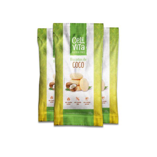 Biscoito de Coco CeliVita Gluten Free 3 pct de 30g cada