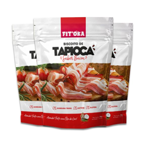Biscoito de Tapioca Bacon Fit´Oka contendo 3 pacotes de 50g cada