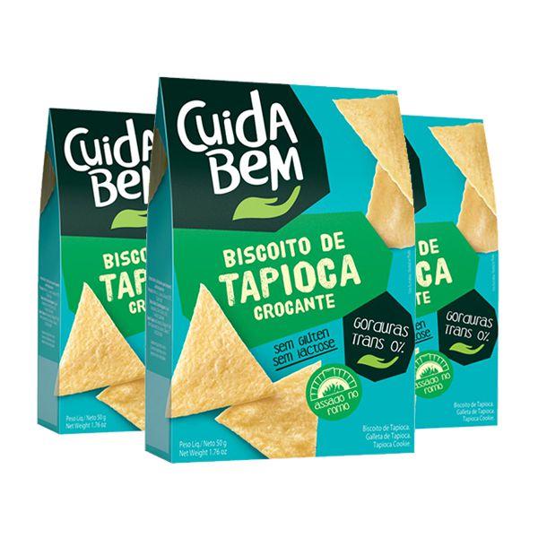 Biscoito De Tapioca Crocante Cuida Bem Contendo 3 Pacotes De 50g Cada