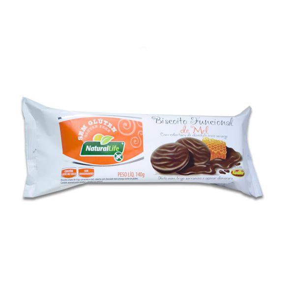 Biscoito Funcional de Mel coberto Chocolate Meio Amargo Sem Glúten Natural Life Kodilar 140g
