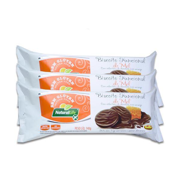 Biscoito Funcional de Mel coberto Chocolate Meio Amargo Sem Glúten Natural Life Kodilar contendo 3 pacotes de 140g