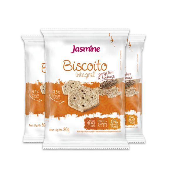 Biscoito Integral Gergelim e Linhaça Jasmine contendo 3 pacotes de 80g