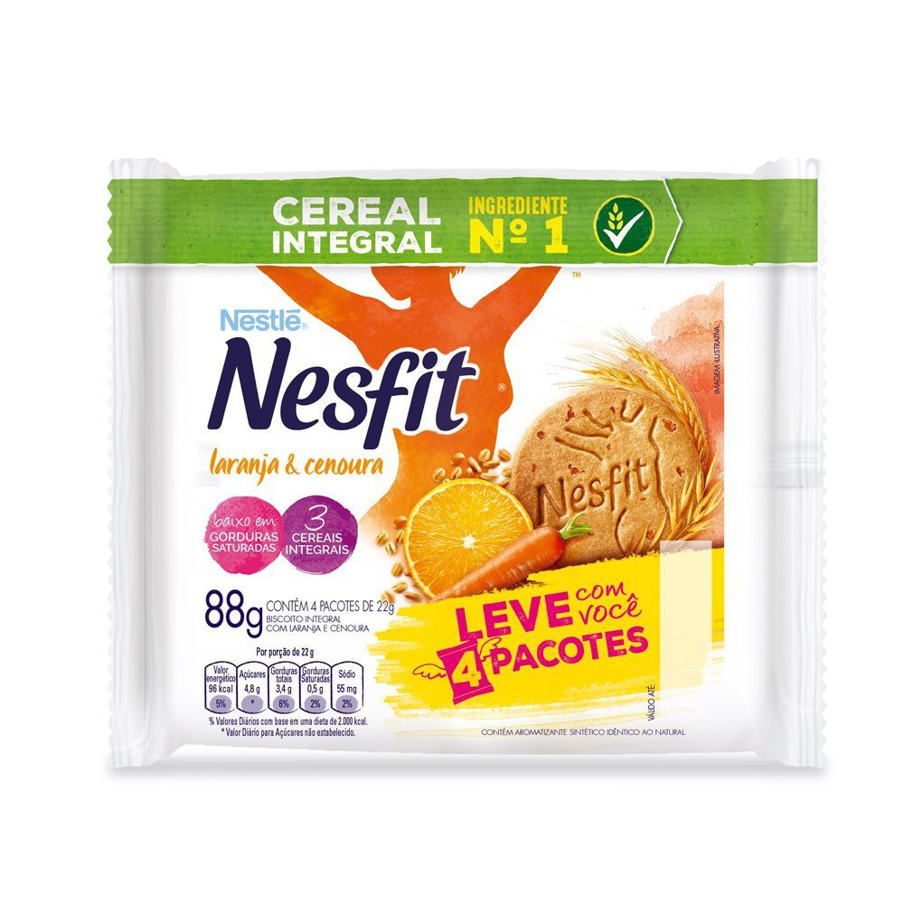 Biscoito Nesfit Integral Laranja E Cenoura 4 unidades