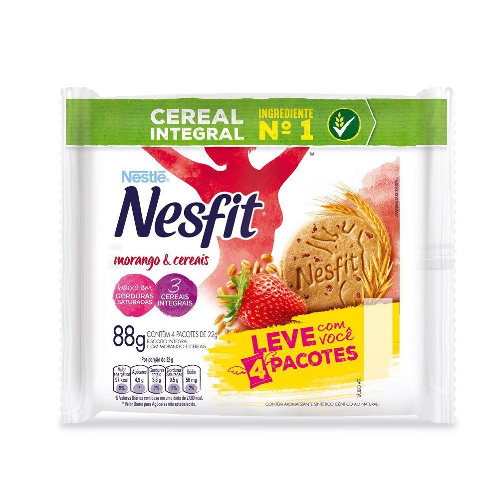 Biscoito Nesfit Nestle Integral Morango E Cereais Contendo 4 Pacotes De 22g Cada