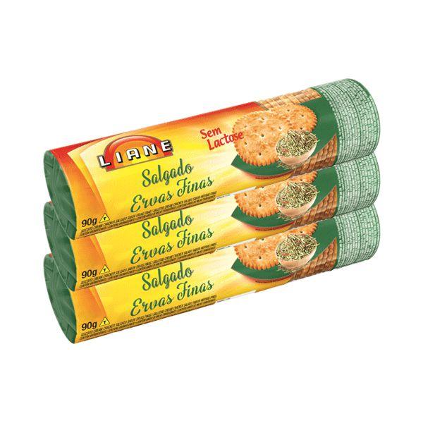 Biscoito Salgado Ervas Finas Sem Lactose Liane Contendo 3 Pacotes De 90g Cada