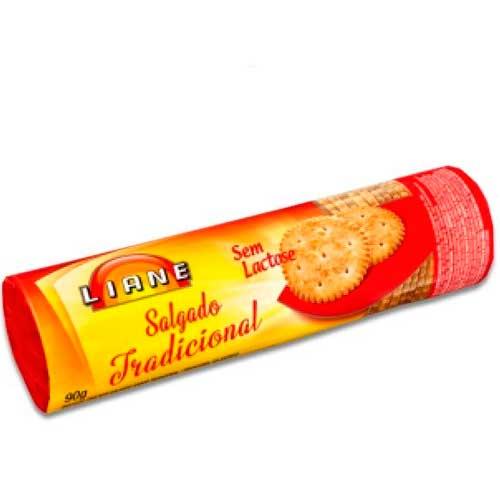 Biscoito Salgado Tradicional Sem Lactose Liane contendo 3 pacotes de 90g cada