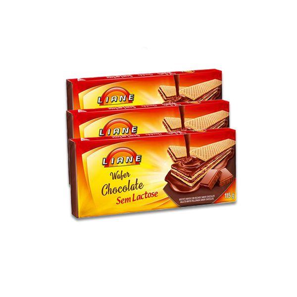 Biscoito Wafer Chocolate Liane contendo 3 unidades de 115g cada