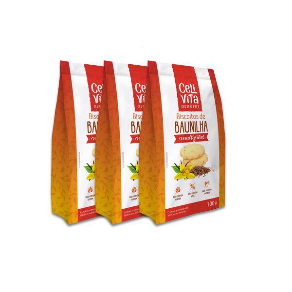 Biscoitos de Baunilha Multigrãos CeliVita Gluten Free 3 pct de 100g cada
