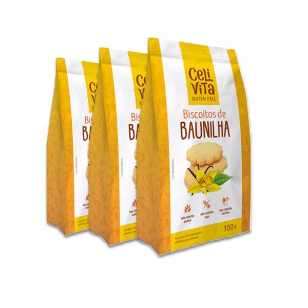 Biscoitos de Baunilha CeliVita Gluten Free 3 pct de 100g cada