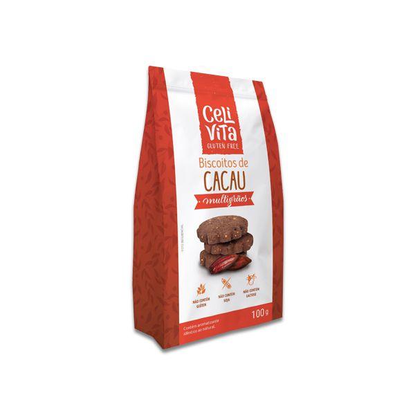 Biscoitos de Cacau Multigrãos CeliVita Gluten Free 100g