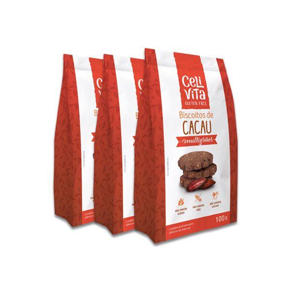 Biscoitos de Cacau Multigrãos CeliVita Gluten Free 3 pct de 100g cada