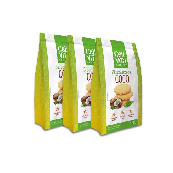Biscoitos de Coco CeliVita Gluten Free 3 pct de 100g cada