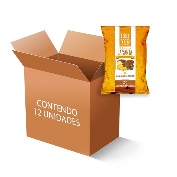 Bolinho de laranja coberto com chocolate sem gluten e sem lactose CeliVita Gluten Free contém 12 uni de 40g cada