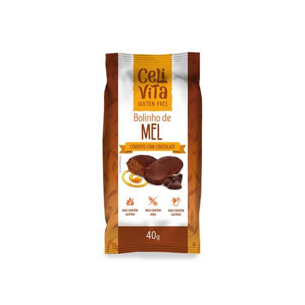 Bolinho de mel coberto com chocolate sem gluten e sem lactose CeliVita Gluten Free 40g