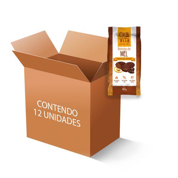 Bolinho de mel coberto com chocolate sem gluten e sem lactose CeliVita Gluten Free contém 12 uni de 40g cada