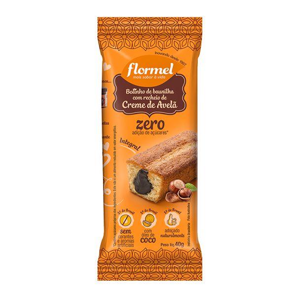 Bolinho Integral Baunilha Recheado Com Creme De Avelã Zero Açúcar Flormel 40g