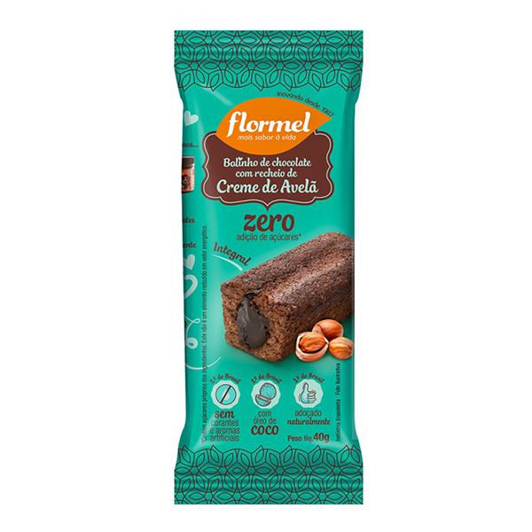 Bolinho Integral Chocolate Recheado Com Creme De Avelã Zero Açúcar Flormel 40g