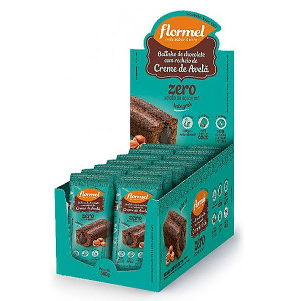 Bolinho Integral Chocolate Recheado Com Creme De Avelã Zero Açúcar Flormel Contém 14 Uni De 40g Cada
