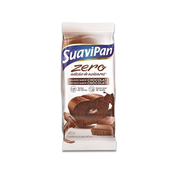 Bolinho Suavipan Zero Açúcar Chocolate Recheado Com Chocolate Unidade de 40g