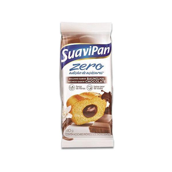 Bolinho Zero Açúcar Baunilha Recheado Com Chocolate Suavipan Unidade de 40g