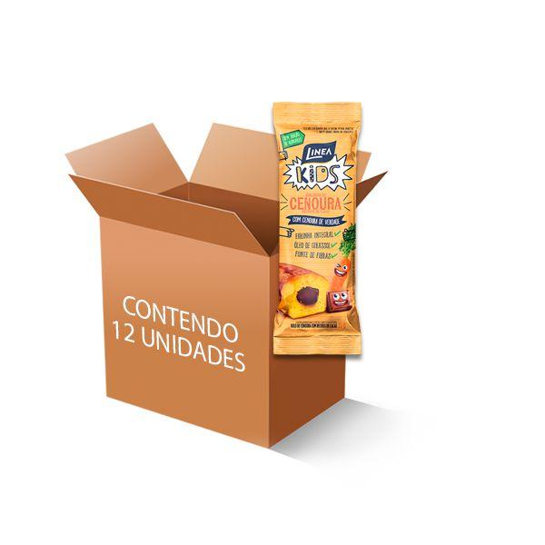 Bolinho  Zero Açúcar Cenoura recheado com Cacau Linea contendo 12 bolinho de 35g cada