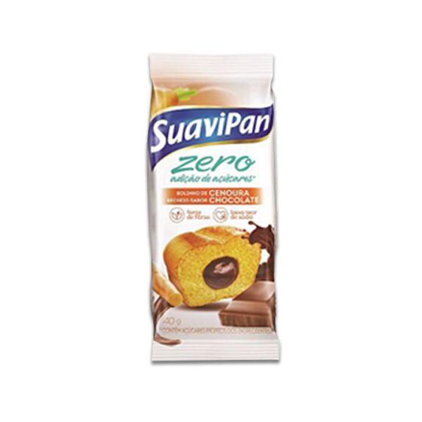 Bolinho Zero Açúcar Cenoura Recheado Com Chocolate Suavipan Unidade de 40g