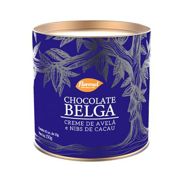 Bombom Chocolate Belga Creme De Avelã E Nibs Zero Açúcar Lata Flormel 150g