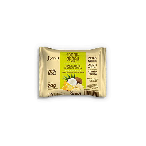 Bomcacau Abacaxi, Coco E Chocolate Branco 20g