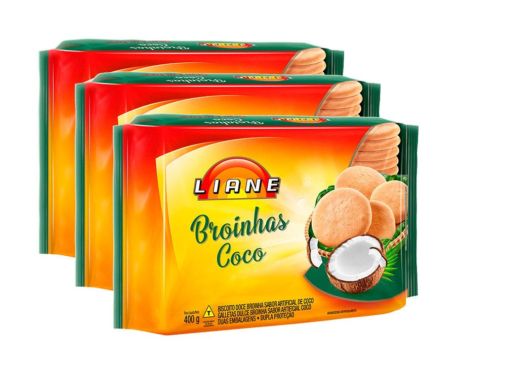 Broinhas De Coco Sem Lactose Liane Contendo 3 Pacotes De 400g Cada