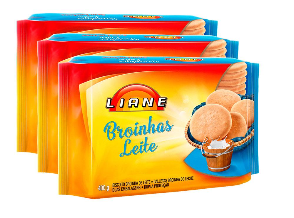 Broinhas De Leite Sem Lactose Liane Contendo 3 Pacotes De 400g Cada