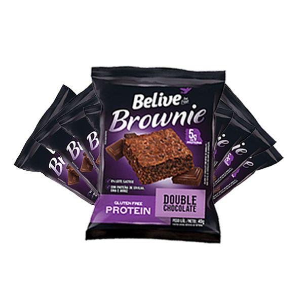 Brownie Belive 5g Protein Double Chocolate Sem Glúten Contendo 10 Unidades De 40g Cada