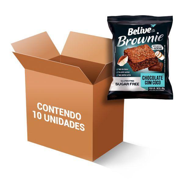 Brownie Zero Glúten, Zero Açúcar Belive Chocolate Com Coco Contendo 10 Unidades