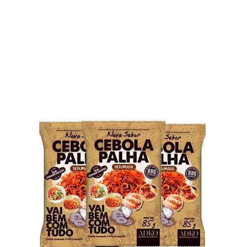Cebola Palha Defumada BBQ, Natural, Zero Glúten, Zero Lactose, Adko contendo 3 pacotes de 100g cada