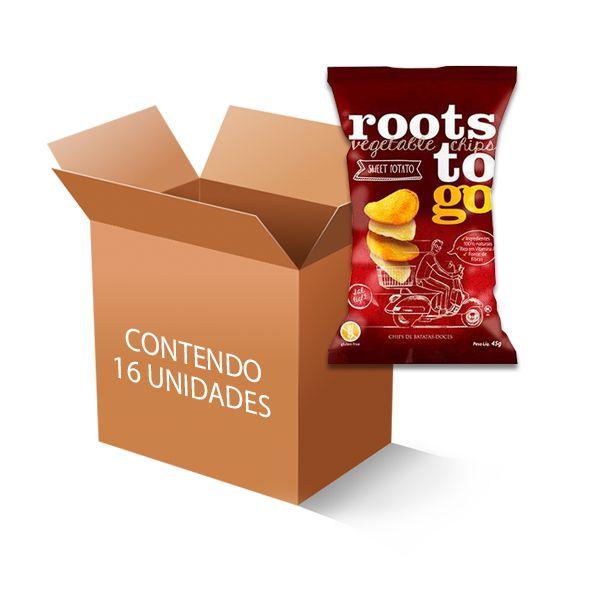 Chipps de Batata-Doces Roots to go contendo 16 unidades de 45g