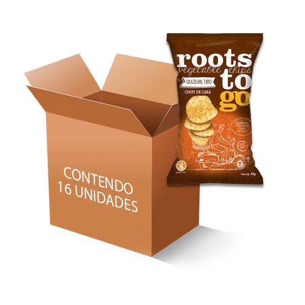 Chipps de Cará Roots to go contendo 16 unidades de 45g