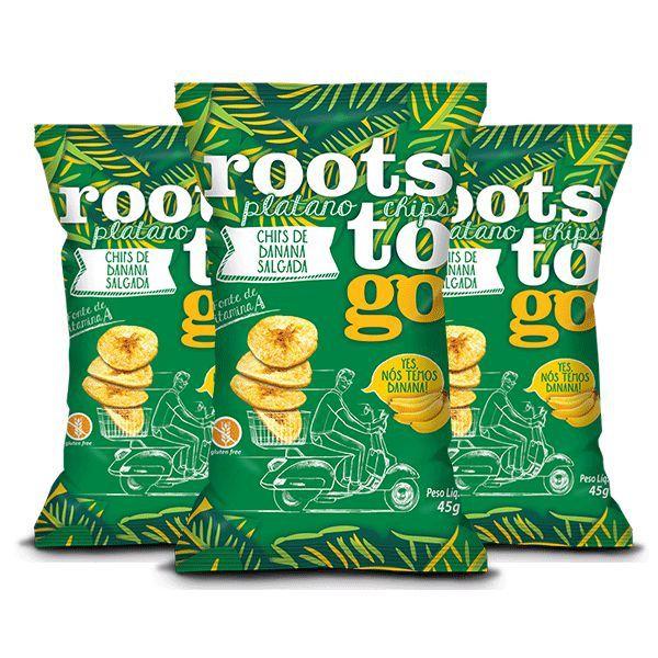 Chips De Banana Salgada Roots To Go Contendo 3 Pacotes De 45g Cada