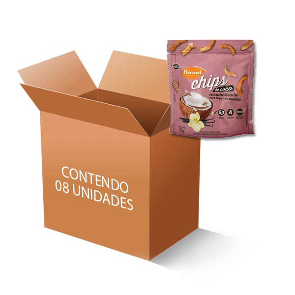 Chips de Coco Caramelizado Flormel contendo 8 pacotes de 20g