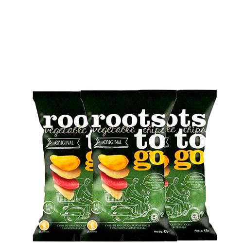 Chips De Mandioca E Batatas-doces Original Roots To Go Contendo 3 Pacotes De 45g Cada