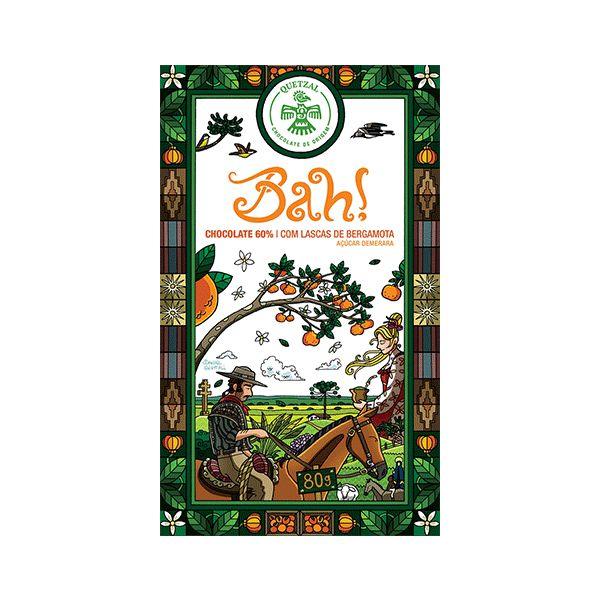 Chocolate Quetzal Bah! 60% Cacau Com Gomos De Bergamota 80g