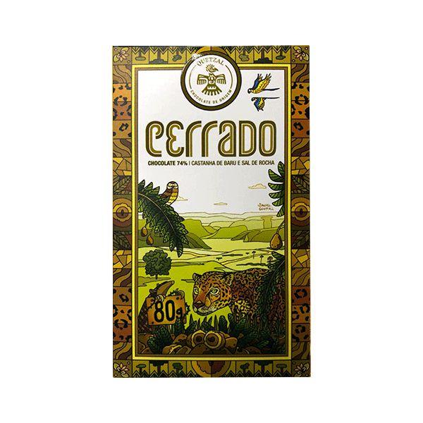 Chocolate Quetzal Cerrado 74% Cacau, Castanha De Baru E Sal De Rocha 80g