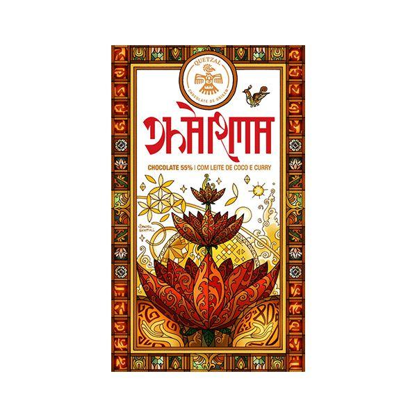 Chocolate Quetzal Dharma 55% Com Leite De Coco E Curry 80g