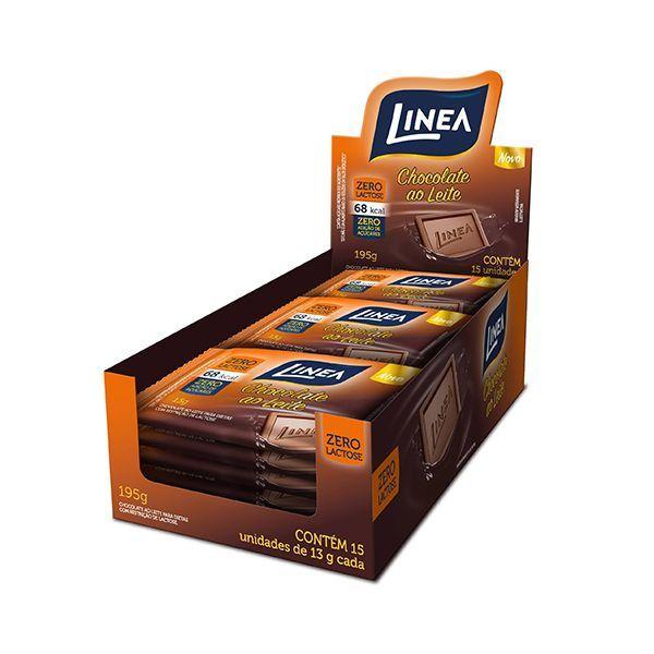 Chocolate ZERO LACTOSE e Açúcar Ao Leite Linea Contendo 15 Unidades De 13g Cada