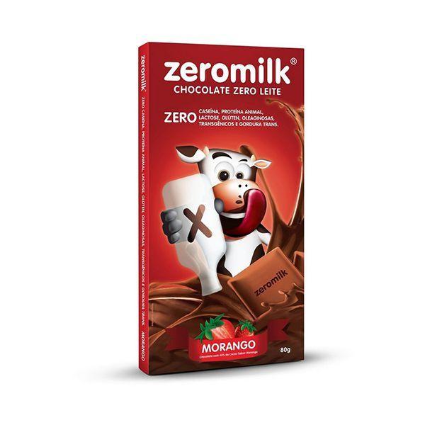 Chocolate Zeromilk Morango, 40% Cacau, Zero Lactose 80g