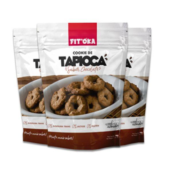 Cookies de Tapioca Chocolate Fit´Oka contendo 3 pacotes de 50g cada