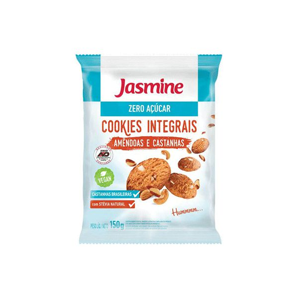 Cookies Zero Açúcar Integrais Amêndoas E Castanhas Jasmine 150g