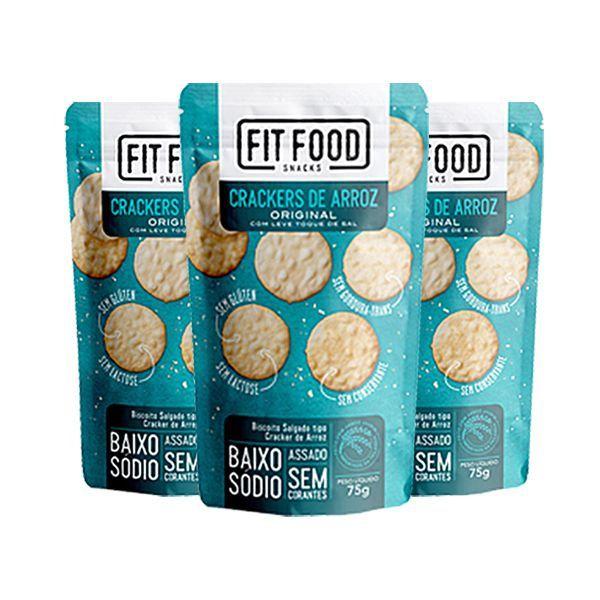 Crackers De Arroz Com Leve Toque De Sal Fitfood Contendo 3 Pacotes De 75g Cada