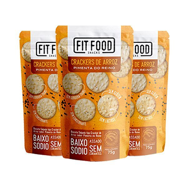 Crackers De Arroz Pimenta Do Reino Fitfood Contendo 3 Pacotes De 75g Cada